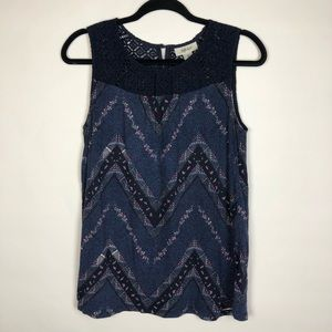 Style & Co Blue Geometric Chevron Print Tank